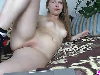 Lovely Teenage Lady With Gorgeous Blue Eyes Leisurely Fondles Her Jummy Cunt