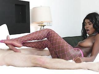 Dark-hued Teenage In Fishnets Kandie Monaee Devours A Immense Milky Dick