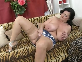 Huge-boobed Inexperienced Dark Haired Mummy Lorie Strips And Plays With Her Poon