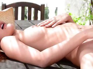 Pretty Nymph In A Sweet Sundress Masturbates Outdoors
