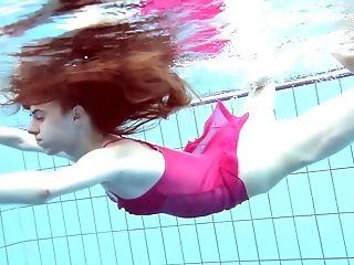 Ginger-haired Stunner Anna Netrebko Bathing In A Pool