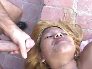 Perverted Latina Is Fucked And Jizzed On Her Face Outdoor