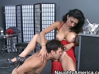 Exotic Cougar Persia Pele In Sexy Crimson Sundress Gives Head By The Bar