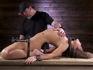 Restrained Porno Model Victoria Voxxx Is Disciplined With Wand And Lengthy Stick